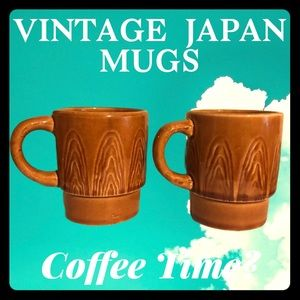 Vintage Japan Coffee Mugs Wood Faux Finish